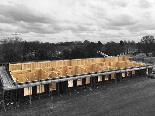Internal walls of timber frame SIP hybrid school